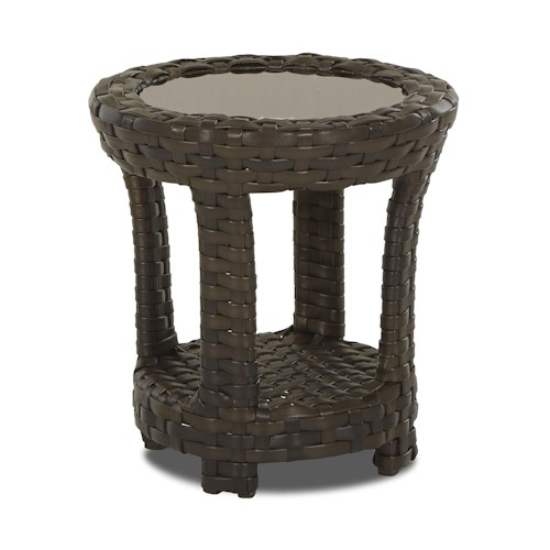 Klaussner Outdoor Cassley Round Accent Table with Bronze Smoked Glass Top