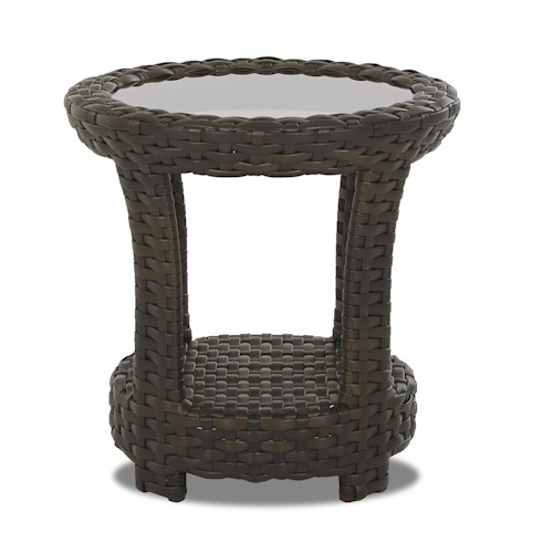 Klaussner Outdoor Cassley Round End Table with Glass Top