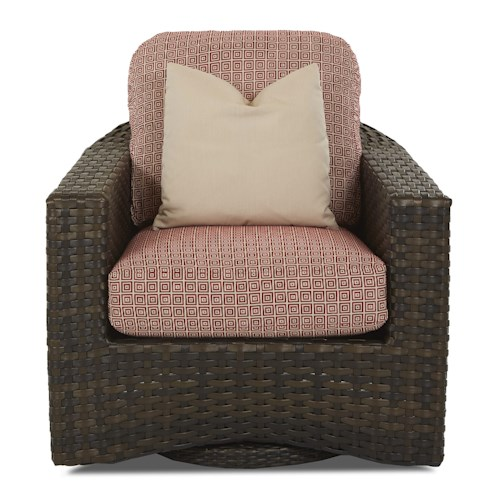 Klaussner Outdoor Cassley Swivel Glider Chair with Reversible Cushion