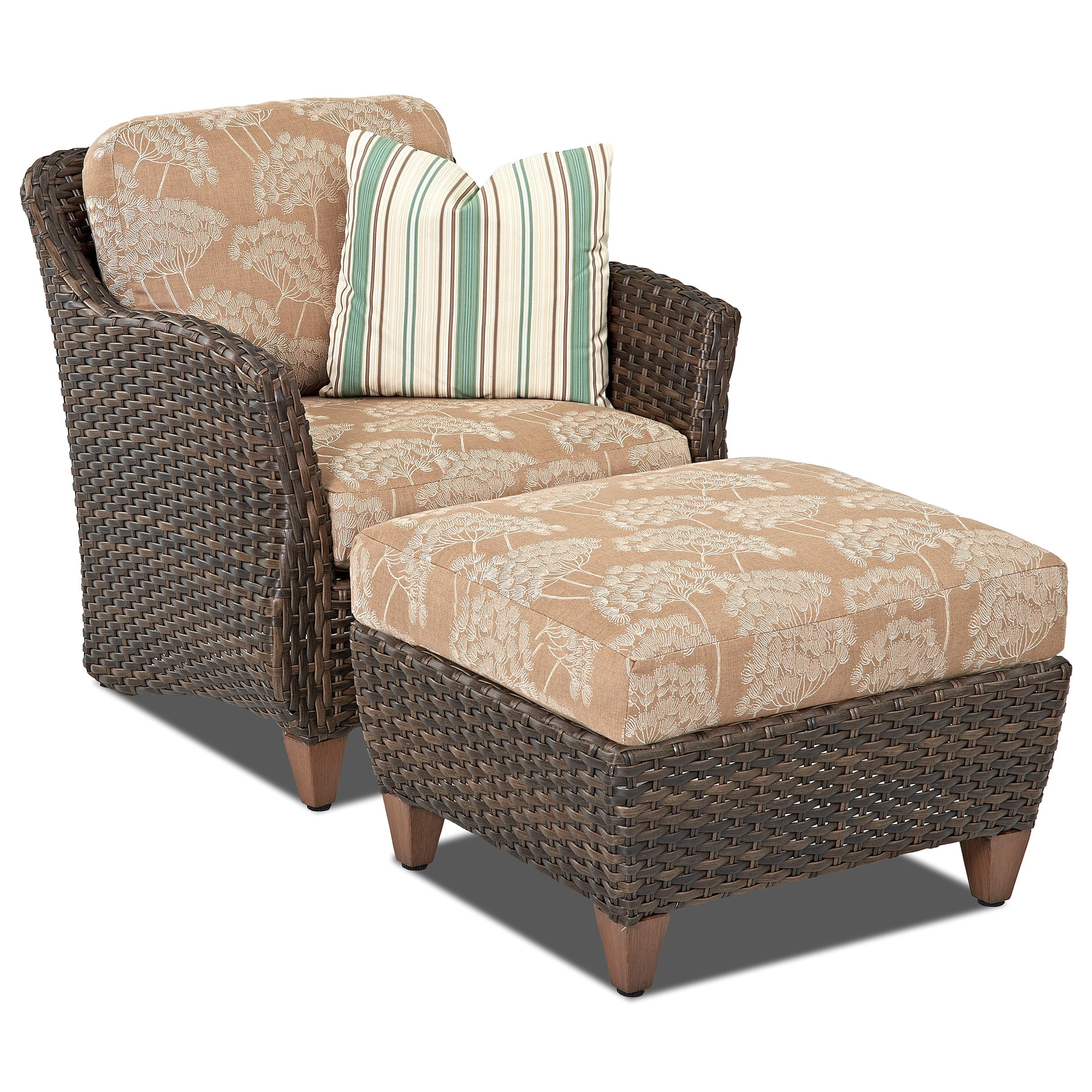 Sycamore Outdoor Chair And Ottoman With Drainable Cushions By Klaussner  Outdoor