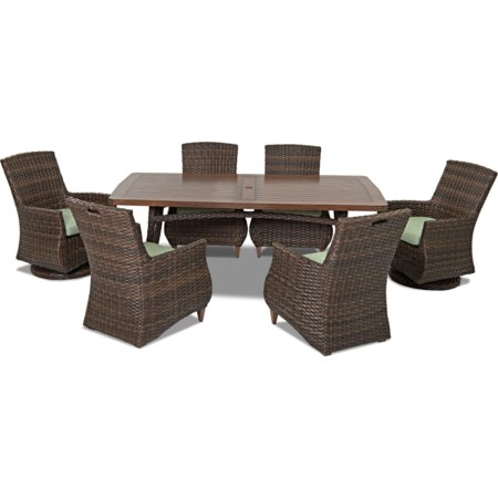 6 Pc Outdoor Dining Set w/ Drainable Cushio