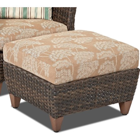 Outdoor Ottoman with Drainable Cushion