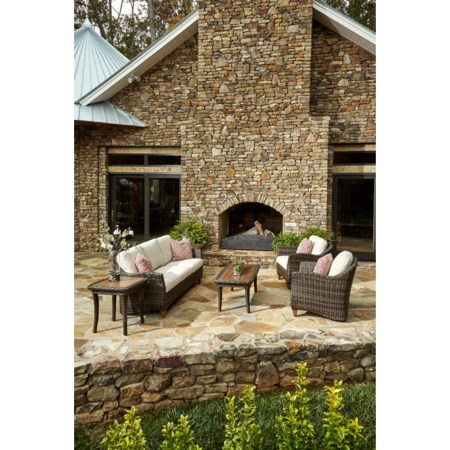 6 Pc Outdoor Chat Set w/ Drainable Cushions