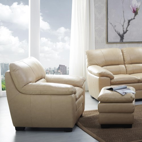 Kuka Home 1588 Chair and Ottoman with Pillow Arms and Block Feet