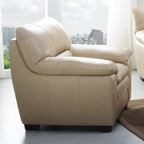 Kuka Home 1588 Upholstered Chair with Pillow Arms and Block Legs