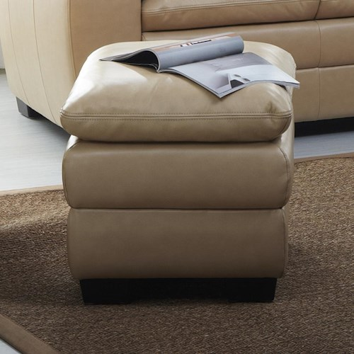 Kuka Home 1588 Upholstered Ottoman with Pillow Top Cushion and Block Legs