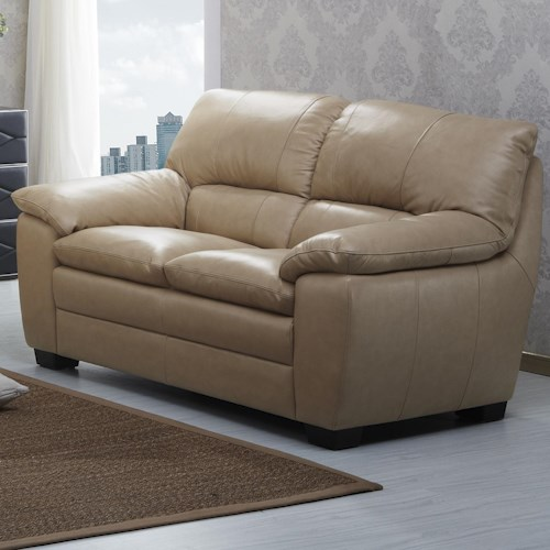 Kuka Home 1588 Love Seat with Pillow Arms and Block Legs