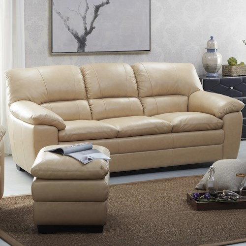 Kuka Home 1588 Sofa with Pillow Arms and Block Legs