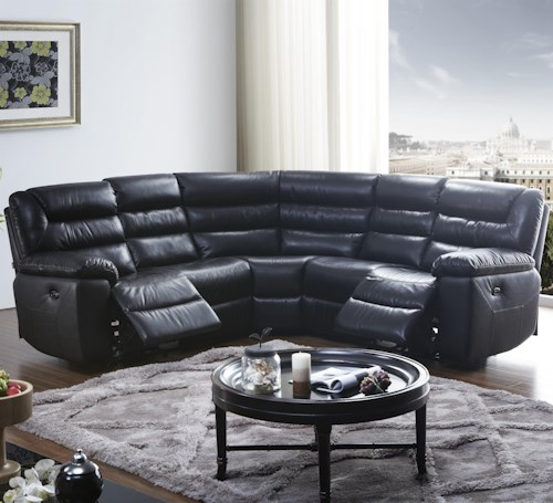 Kuka Home 1711 Five Piece Power Reclining Sectional Sofa