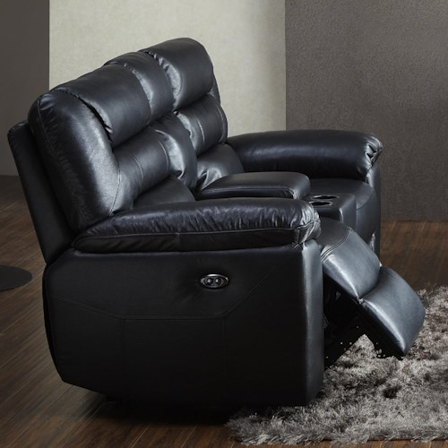 Kuka Home 1711 Reclining Loveseat with Console