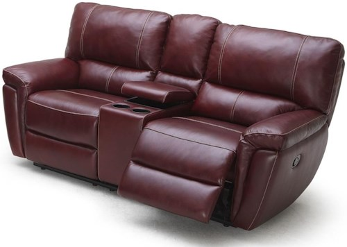 Kuka Home 1738 Casual Power Reclining Loveseat with Cupholder Storage Console