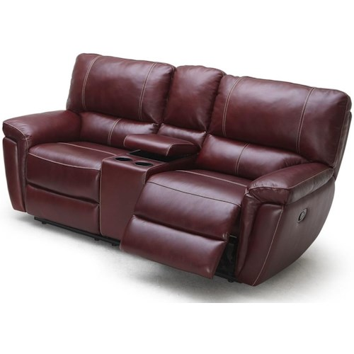 Kuka Home 1738 Casual Reclining Loveseat with Cupholder Storage Console