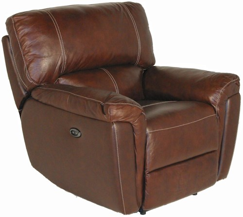 Kuka Home 1738 Casual Power Recliner with Wide Pillow Arms