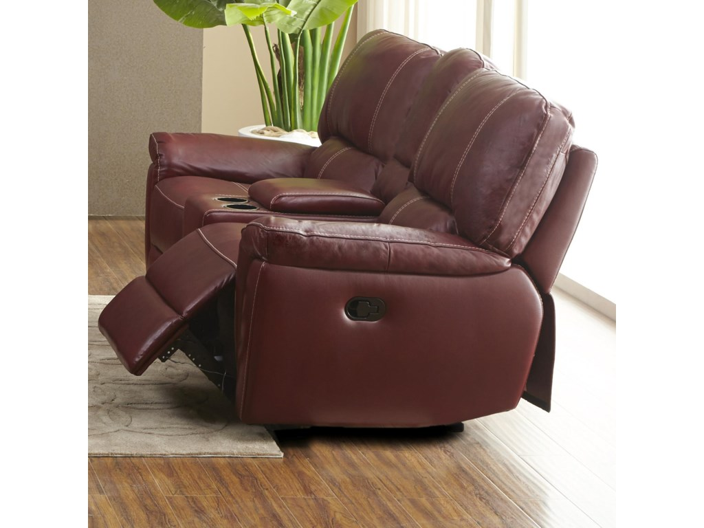 Kuka Home 1738Casual Console Reclining Loveseat