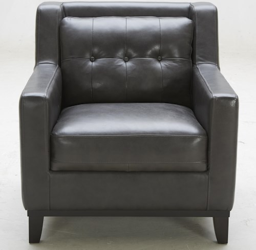 Kuka Home 1838 Leather Match Chair with Tufted Back