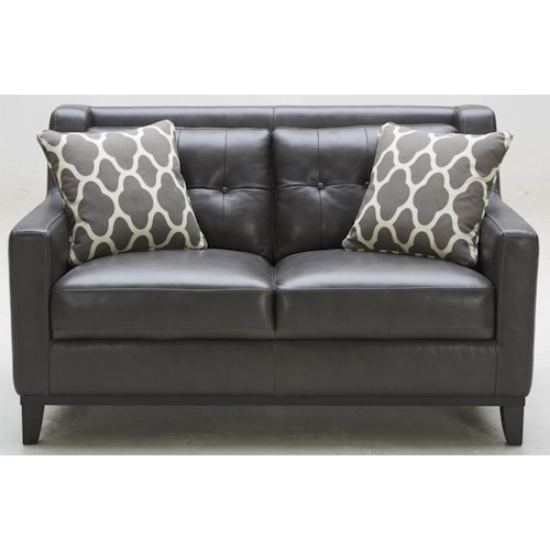 K.C. Midtown Leather Loveseat with Tufted Back