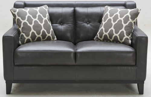 Kuka Home 1838 Leather Match Loveseat with Tufted Back