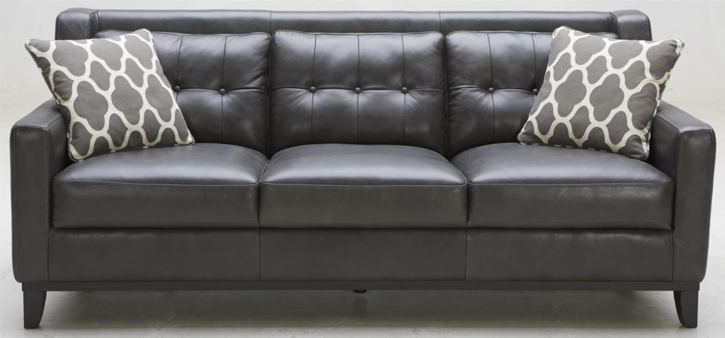 K C Midtown Leather Sofa With Tufted Back Walker S Furniture Sofa