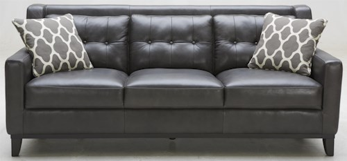 K.C. Midtown Leather Sofa with Tufted Back