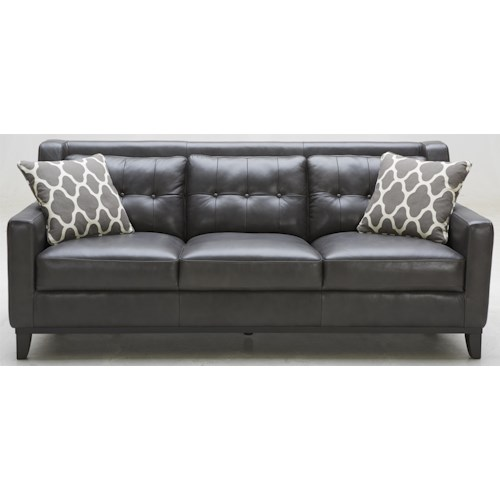 K C Midtown Leather Sofa With Tufted Back