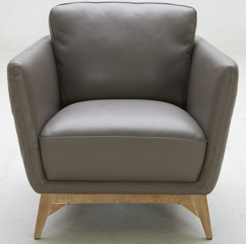Kuka Home 1961 Contemporary Leather Match Chair