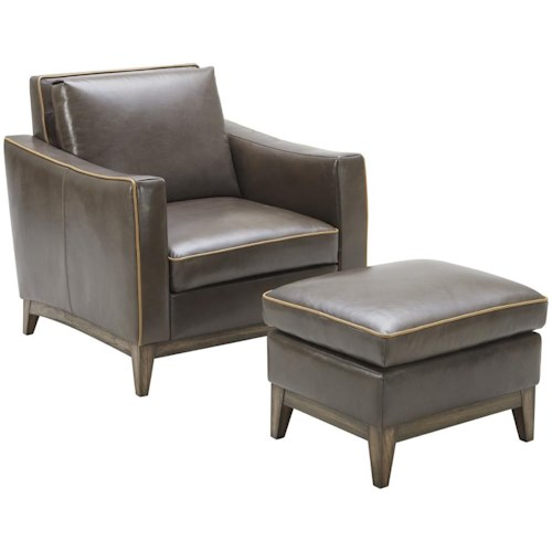 Kuka Home 1962 Contemporary Chair and Ottoman Set