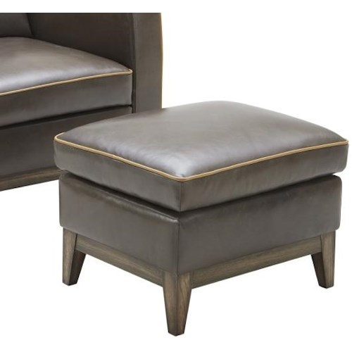 Kuka Home 1962 Contemporary Ottoman with Tapered Wood Feet