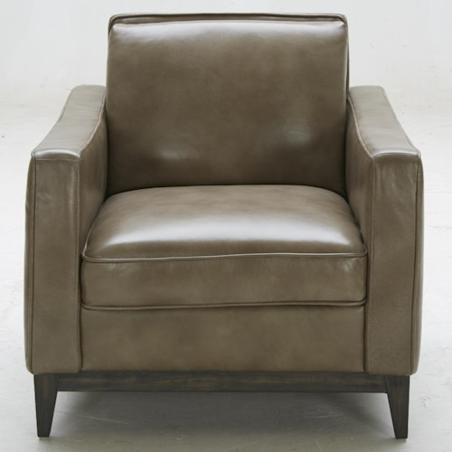 Warehouse M 1962 Contemporary Leather Match Chair with Track Arms