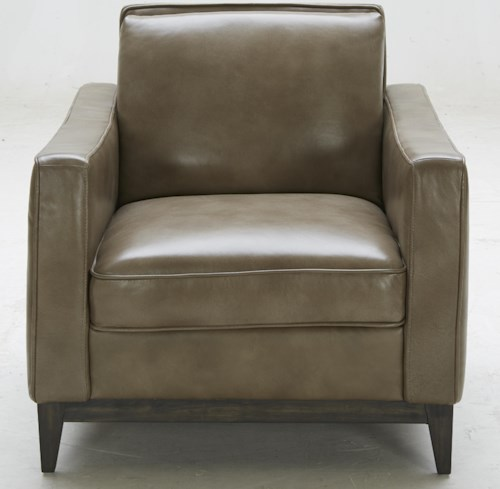 Kuka Home 1962 Contemporary Leather Match Chair with Track Arms