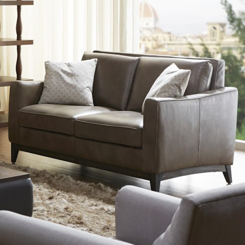 Kuka Home 1962 Contemporary Leather Match Loveseat