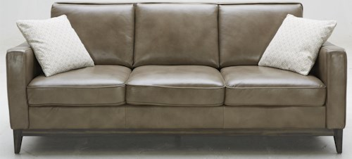 Kuka Home 1962 Contemporary Leather Match Sofa with Track Arms