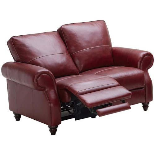 Kuka Home 1967 Traditional Power Reclining Loveseat with Turned Wood feet