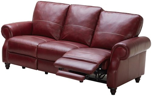 Kuka Home 1967 Traditional Power Reclining Sofa with Turned Wood Feet
