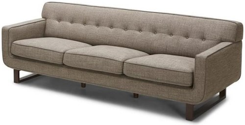 Kuka Home 2677 Mid Century Modern Sofa with Wood Bracket Feet and Button Tufting