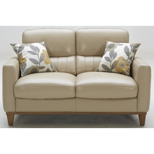 Warehouse M 5127 Contemporary Leather Match Loveseat