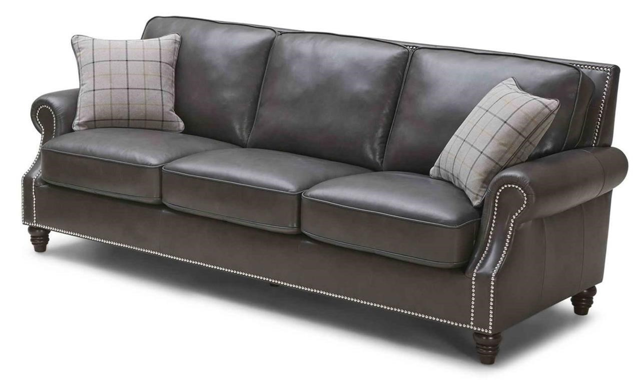 kuka home leather sofa with rolled arms and nailheads