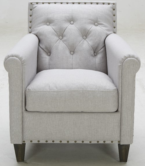 Warehouse M A-655 Transitional Tufted Chair with Rolled Arms and Nailhead Trim