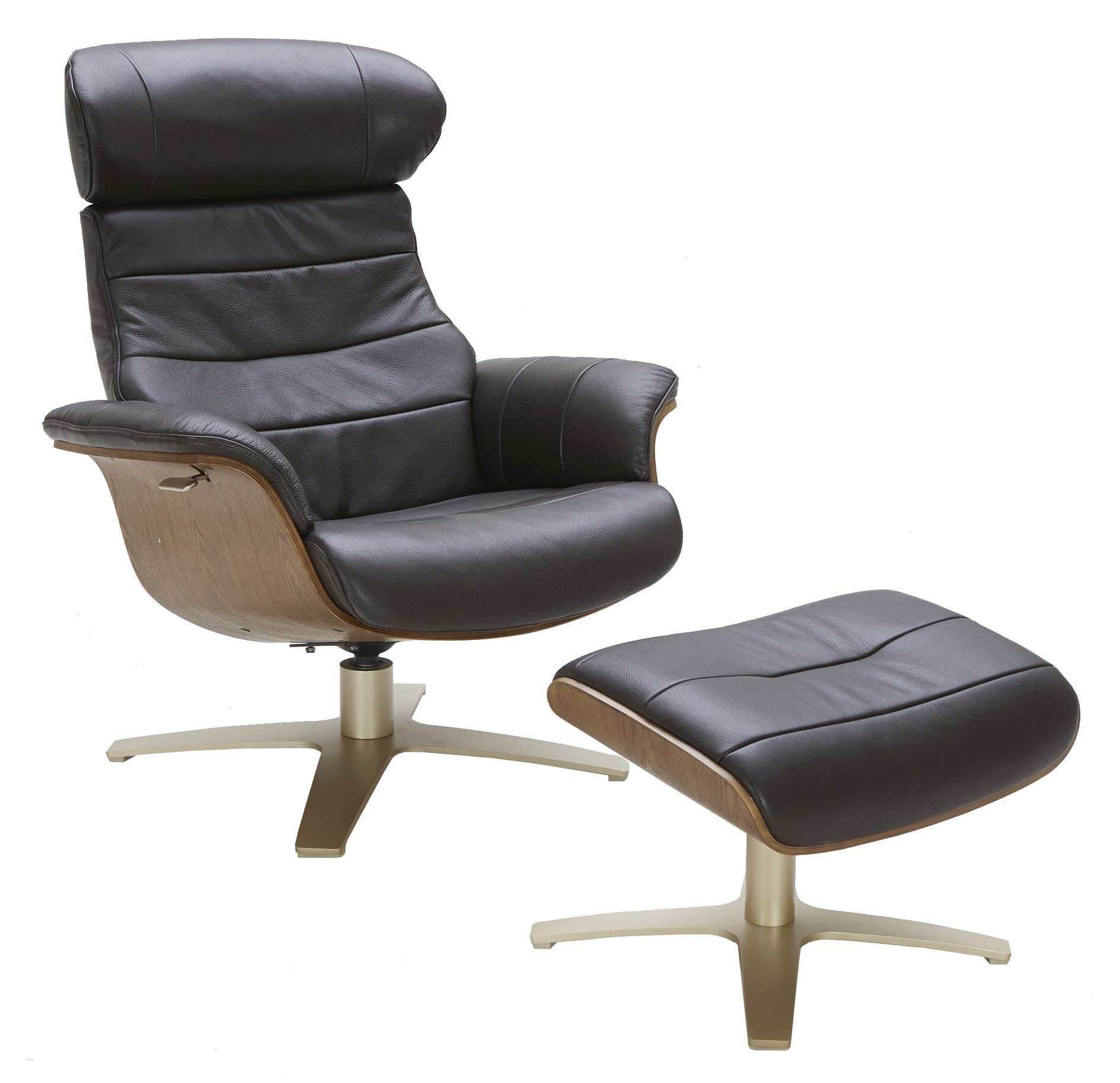 Urban Evolution KarmaLeather Lean Back Swivel Chair And Ottoman ...