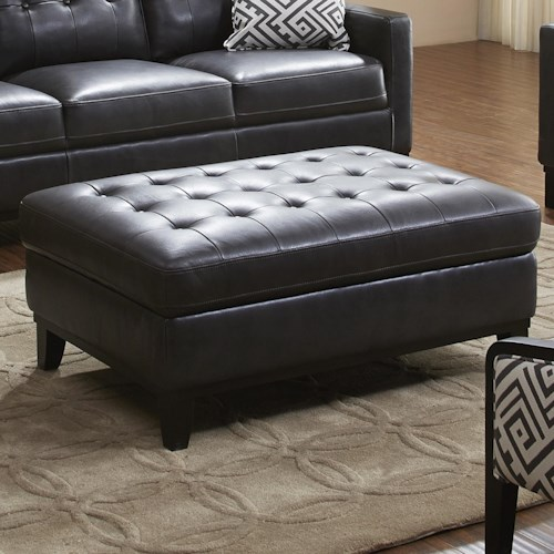 K.C. Midtown Leather Button-Tufted Ottoman