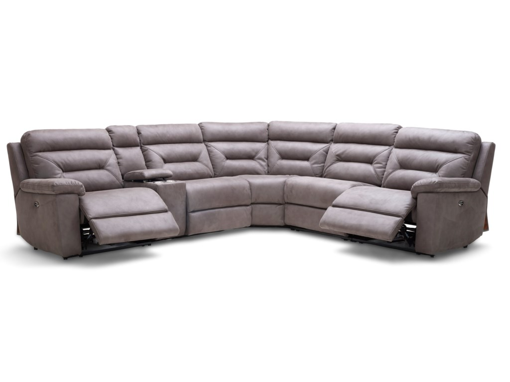 Km012 Six Piece Reclining Sectional Sofa With Cupholder Storage Console By Kuka Home At Beck S Furniture