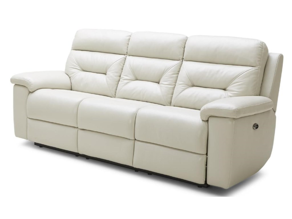 Kuka Home Contemporary Leather Sofa in Gray ...