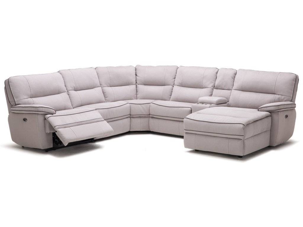 KM019 Six Piece Reclining Sectional Sofa with Cupholder Storage Console by  Kuka Home at Beck\'s Furniture