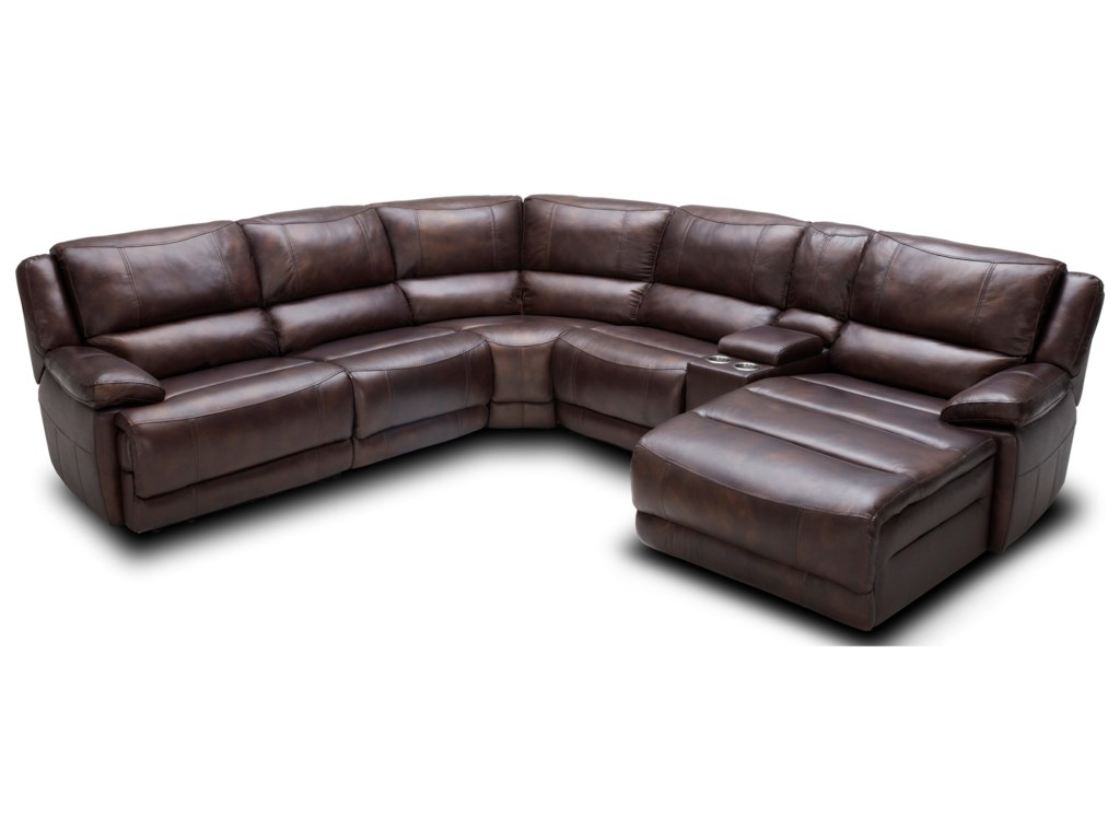 Kuka Home Km028 Six Piece Power Reclining Sectional Sofa With