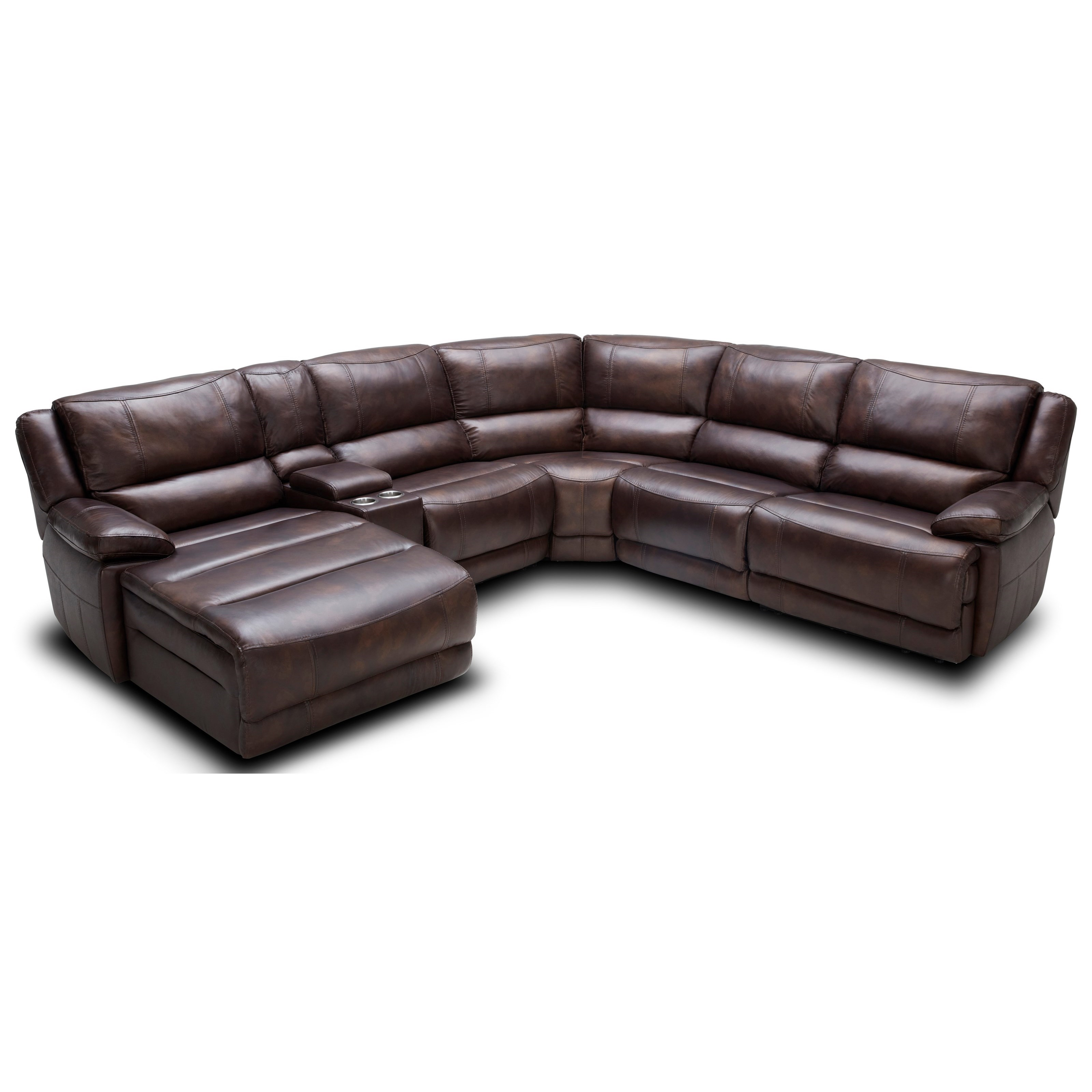 Kuka Home KM0286 Pc Reclining Sectional Sofa  Recliner With Cup Holder And Storage L45