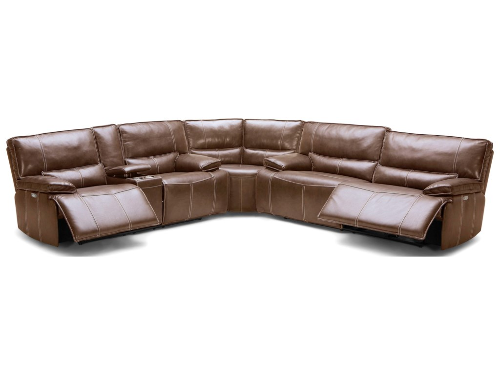 KM.080 Three Piece Reclining Sectional Sofa with Power Headrests and USB  Charging Ports by BFW Lifestyle at Becker Furniture World