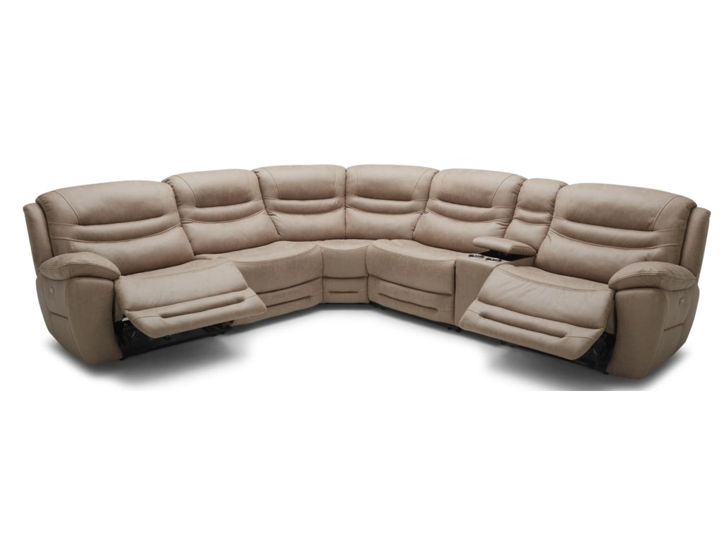 Km083 Six Piece Console Reclining Sectional Sofa With 3 Recliners And Headrests By Bfw Lifestyle At Becker Furniture World