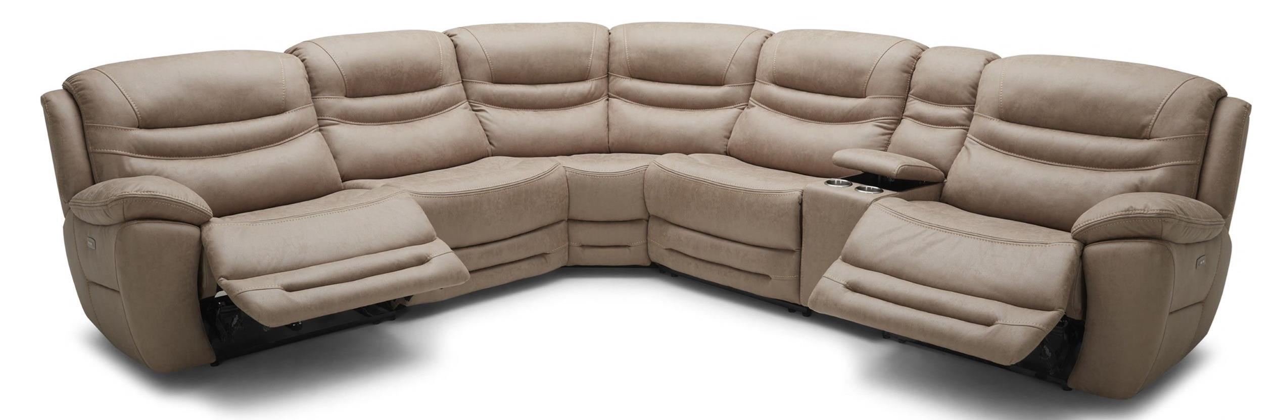 KM083 Six Piece Power Console Reclining Sectional Sofa With 4 Recliners And  Power Headrests By Kuka Home