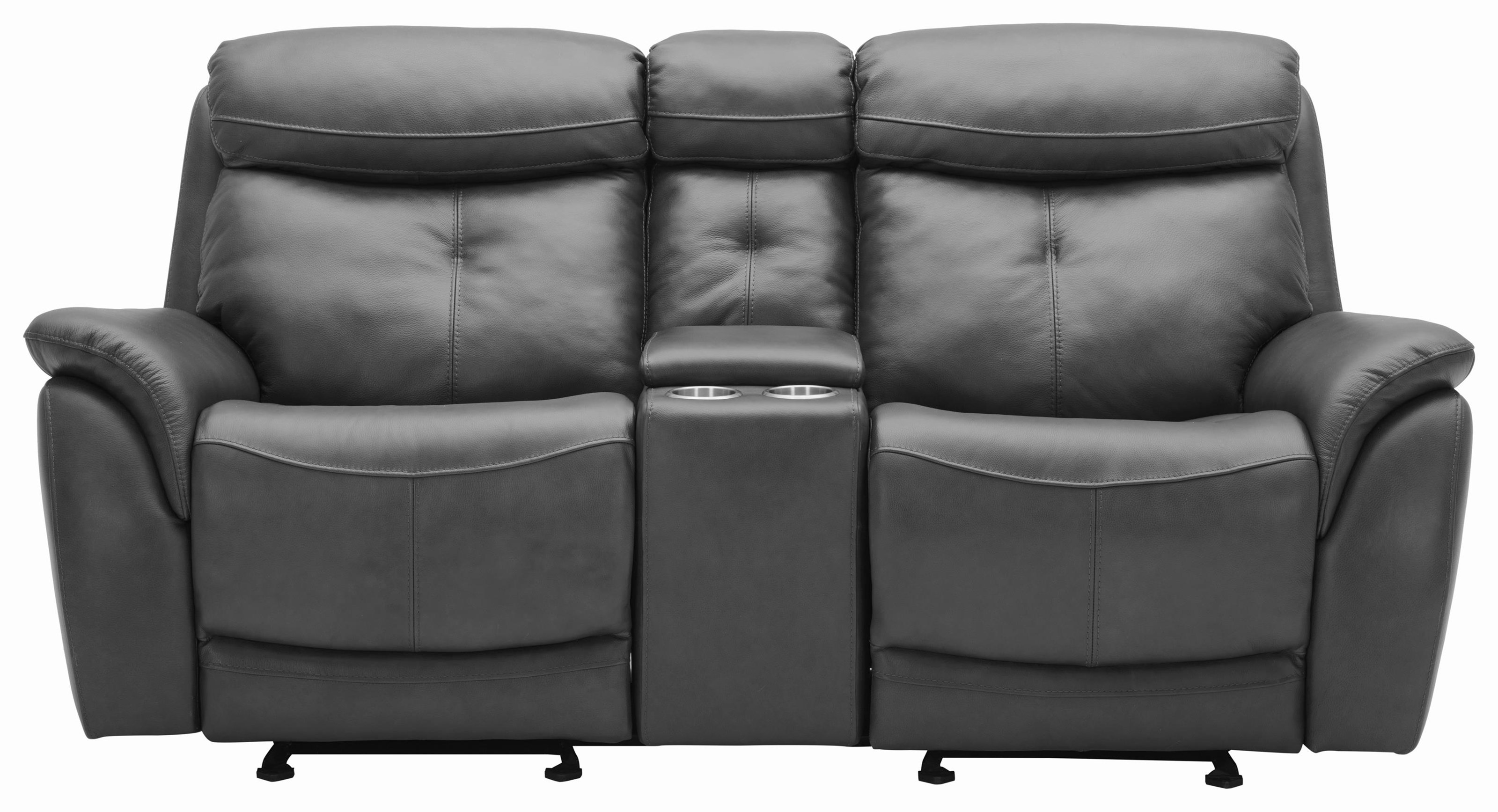 Power Reclining Leather Loveseat w/ Power Headrest and Console