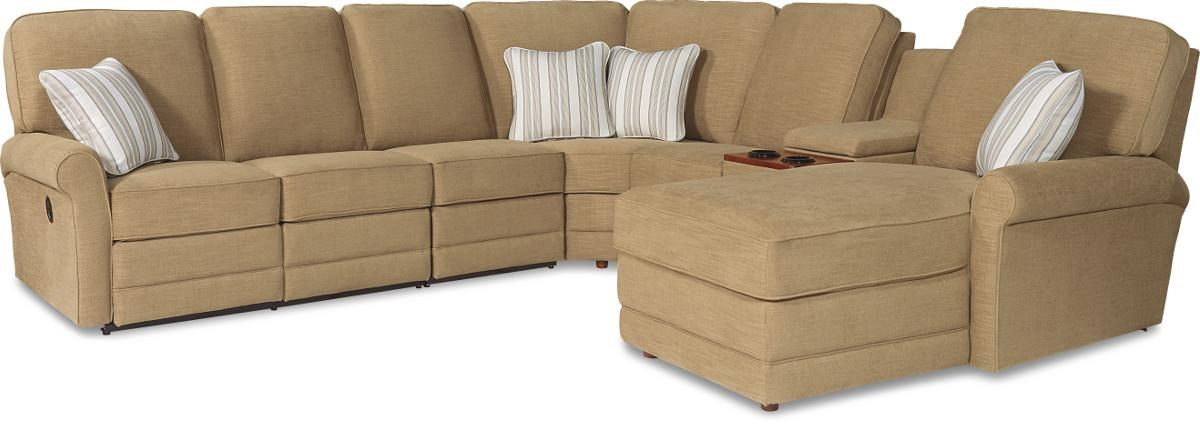 La Z Boy Addison Six Piece Reclining Sectional Sofa With RAF Chaise And  Cupholders   Morris Home   Reclining Sectional Sofas