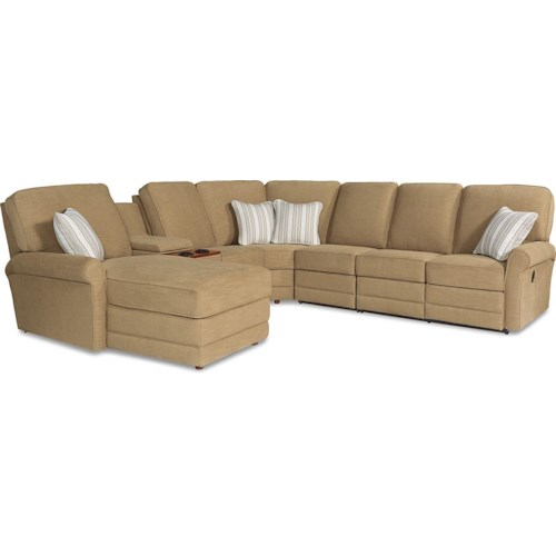 La-Z-Boy Addison Six Piece Power Reclining Sectional Sofa with LAF Chaise and Cupholders